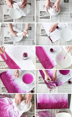 How To: 'Dip Dye' Pillowcase the Easy Way to Create an Ombre Effect:separator:How To: 'Dip Dye' Pillowcase the Easy Way to Create an Ombre Effect Dip Dye Fabric, How To Dye Fabric, Dyeing Fabric, Diy Tie Dye Shirts, Dip Dye Shirt, Diy Ombre, Tie Dye Crafts, Diy And Crafts, Ty Dye