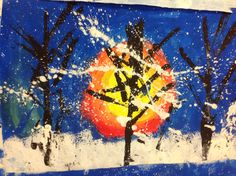 Kindergarten Winter Landscape Paintings – Mrs. Yang's Art Room