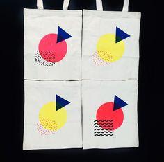Geometric Collage Screen Printed Tote Bag
