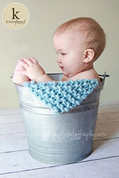 Knit Sky Blue  Mini Baby Blankets  Other by OopsIKnitItAgain, $28.00