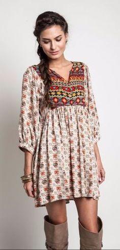 Umgee-Printed-Baby-Doll-Tunic-Dress-Bohemian-Boho-Hippie-Gypsy-Taupe-Mix-A0001 #UNIQUE_WOMENS_FASHION