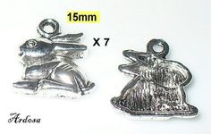 7 Hasen 15x13mm Tibetsilber Anhänger 142.15.1 von Schmuckmaterial
