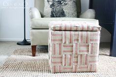 I love this DIY woven jute storage cube. The perfect way to add life and character to a boring store-bought cube. Via @emily