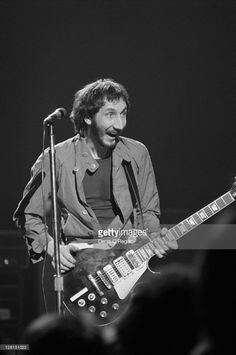 Guitarist Pete Townsend performing with English rock group The Who at  Shepperton Studios, Surrey,