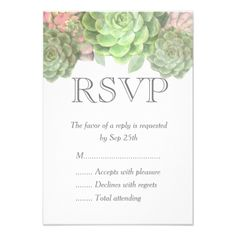 Shop Minimalist Green Succulent Wedding RSVP Cards created by FancyMeWedding. Personalize it with photos & text or purchase as is! Wedding Response Cards, Wedding Rsvp, Party Fashion, Save The Date, Simple, Special Events, Succulents, Minimalist, Invitations
