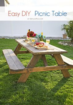 This Easy DIY Picnic Table Is So Incredibly Simple To Make. Just 30 Minutes  Or Less To Assemble, Add Weatherproof Stain U0026 Youu0027re Ready To Dine Al  Fresco.