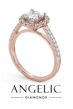 This princess cut engagement ring is sophisticated and glamorous. With a princess diamond, diamond halo and even more diamonds running down the side of the band, this rose gold engagement ring is stunning. #engagementrings #diamondrings #rosegoldrings #rosegold Elegant Engagement Rings, Rose Gold Engagement Ring, Rose Gold Jewelry, Diamond Jewellery, Beautiful Diamond Rings, Gold Platinum, Eternity Ring, Halo Diamond