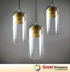 LOFT Wood Socket Glass Shade LED Ceiling Light