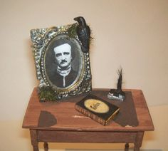 Dollhouse Miniature Art POE RAVEN BOOK Quill Pen Halloween Spooky Horror Picture Gothic Portrait Witch Crow. $16.00, via Etsy.