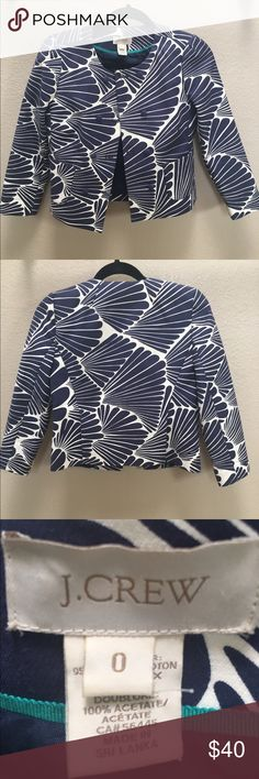J Crew Blazer size 0 Beautiful J Crew blazer! Perfect for work or play! Like new, worn once! Cotton/spandex/acetate. From a non smoking home. J. Crew Jackets & Coats Blazers