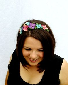 Rainbow Hydrangea Flower Headband Teal Pink and by RuthNoreDesigns, $18.00