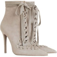 ZIMMERMANN Lace Up Ankle Boot (3.120 BRL) ❤ liked on Polyvore featuring shoes, boots, ankle booties, ankle boots, pointed toe booties, leather boots, pointy-toe ankle boots and lace up boots