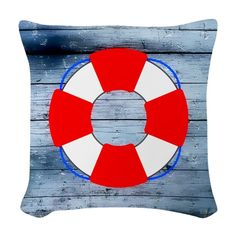 Lifesaver on Wood Board - Nautical Shower Curtain Nautical Flip Flops, Life Savers, Nautical Theme, Designer Throw Pillows, Chicago Cubs Logo, Home Projects, Curtains, Wood, Fabric