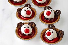 Celebrate Christmas with our festive Reindeer Cherry Cheesecake Tarts.  They taste as good as they look and these mini tarts are deceptively simple to make - just what you want out of a festive dessert recipe!
