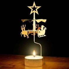christmas candle carousel santa silver effect