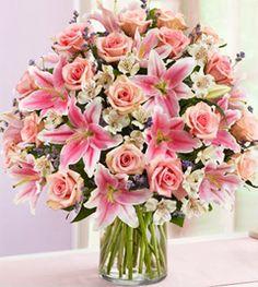 imagenes de arreglos florales mixtas rosadas