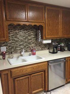 using vinyl smart tiles to update my kitchen, diy, kitchen backsplash, kitchen design, tiling