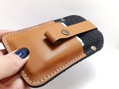 Sleeve case wallet  with black felt and genuine cowhide leather for iPhone 5S and Iphone 5 cell phone pocket card holder free initials on Etsy, $23.00