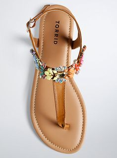 just kidding, these sandals are right here and now! A cognac faux leather T-strap finds the end of the rainbow with multi-color gemstone appliques. Cute Sandals, T Strap Sandals, Cute Shoes, Me Too Shoes, Shoes Sandals, Women Sandals, Flat Sandals, Gladiator Sandals, Everyday Shoes