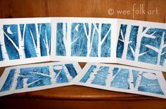 Magische sneeuwvlokken met tape en waterverf | Magical snowflake painting craft