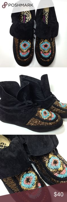 Never worn Dollhouse beaded moccasins Dollhouse suede beaded moccasins have never been worn. Size is 10 but more like a 9. Smoke free and pet free home. Dollhouse Shoes Moccasins
