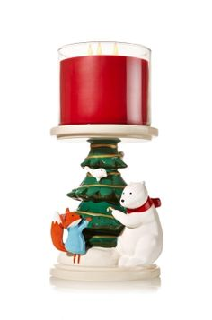 Forest Friends Pedestal - 3-Wick Candle Holder - Bath & Body Works - Add a dash of happiness to your holiday d�cor with cute Christmas critters! Pedestal is perfect for casting a merry 3-Wick Candle glow.