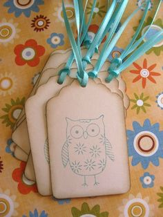Vintage Style Owl Tags  Set of Eight by TreeTopTemptations on Etsy