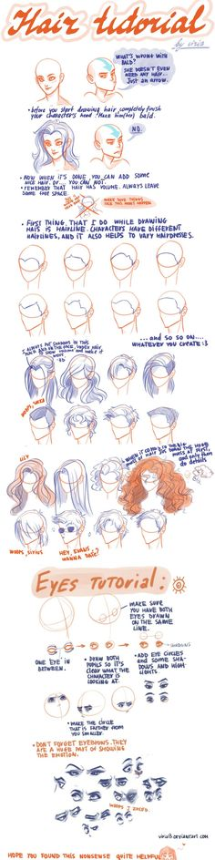 Hair and eyes tutorials / Dessiner les cheveux et les yeux.  By / Par *Phobs • DeviantArt