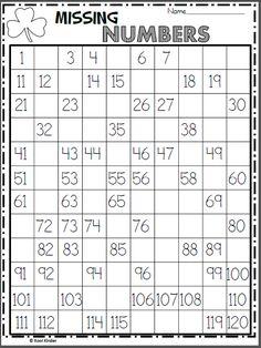 120s Chart Missing Numbers Worksheet