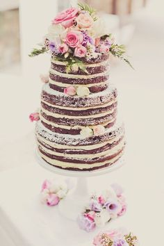 Naked Wedding Cake - Floral decorations