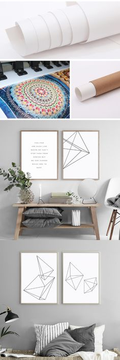 Minimalist Geometric Triangle Pictures Black Posters Abstract Wall Art Paintings on Canvas for Office Living Room Decor Unframed