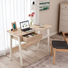 Free delivery over to most of the UK ✓ Great Selection ✓ Excellent customer service ✓ Find everything for a beautiful home Small Wooden Desk, Diy Wood Desk, Wooden Diy, Desk Inspo, Retro Desk, Cute Desk, Desks For Small Spaces, Bedroom Desk, Bedroom Inspo
