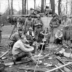 A Sherman Crab crew of Lothians and Border Horse Yeomanry share a brew with American 16 Corps engineers, Germany, 28 March Ww2 Pictures, Ww2 Photos, Military Units, Military History, Ww2 History, Germany Ww2, Story Of The World, D Day, North Africa