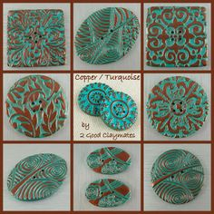2 Good Claymates: Buttons in Turquoise and Copper (nice color combo)