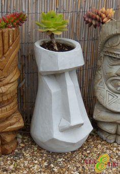 Items similar to 13 EASTER ISLAND moai TIKI stone garden planter flower pot patio porch deck art on Etsy - Head Planters, Flower Planters, Garden Planters, Flower Pots, Planter Pots, Flowers Garden, Concrete Art, Concrete Design, Bares Tiki