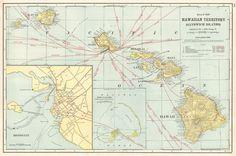 Map of Hawaiian Territory (Sandwich Islands).  Grant, A.A., Cram, George F.  1906.
