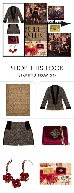 """""""Soirée de Luxe with bebe Holiday: Contest Entry"""" by missannik ❤ liked on Polyvore featuring Bebe and Loloi Rugs"""
