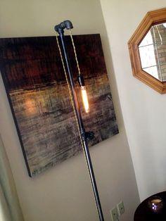 Edison Bulb Industrial Floor Lamp - Pipe Fixture - Steampunk Furniture - Pendant Lighting. $165.00, via Etsy.