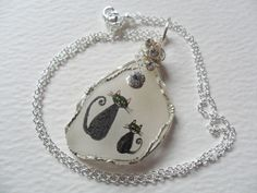 "Big cat & little kitten hand painted sea glass necklace - 18"" silver chain"