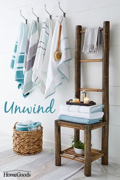 It might not be the star of your home, but creating a bathroom where you can relax and unwind will make it feel like an oasis. Add wood details with a chair, basket or stool to give a rustic or beachy vibe. Stock up on plush, fluffy towels with an airy all-white space and your bathroom will become a blissful retreat! Visit HomeGoods for more bathroom décor inspiration.