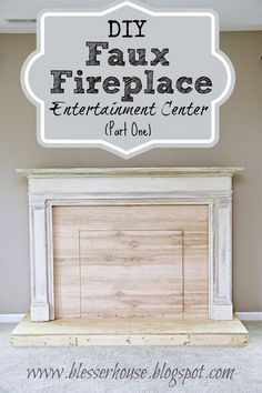 A DIY tutorial about how to build a realistic looking oversized faux fireplace using a thrifted mantel. #diytutorial #fauxfireplace #fireplace #fireplacemakeover #mantel #thriftedmantel #diyfireplace