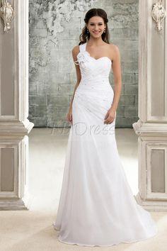 Elegant A-Line One-Shoulder Lace-up Chapel Train Pleats Beach Wedding Dress # Elegant # Lace-up #weeding dress on tbdress.com