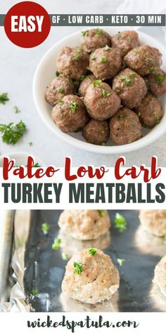 Healthy Low Carb Paleo Turkey Meatballs Recipe - This healthy paleo turkey meatballs recipe is super EASY! You only need 10 ingredients and 30 minutes to make delicious keto low carb turkey meatballs. via Keto Recipes: Easy Paleo Dinner Recipes, Paleo Recipes, Low Carb Recipes, Ketogenic Recipes, Lunch Recipes, Paleo Turkey Meatballs, Healthy Meatballs, Albondigas, Meatball Recipes