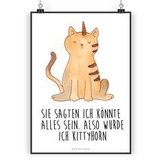 """Poster DIN A3 Einhorn Katze aus Papier 160 Gramm  weiß - Das Original von Mr. & Mrs. Panda.  Jedes wunderschöne Poster aus dem Hause Mr. & Mrs. Panda ist mit Liebe handgezeichnet und entworfen. Wir liefern es sicher und schnell im Format DIN A3 zu dir nach Hause.    Über unser Motiv Einhorn Katze  Ganz nach dem Motto """"Sie sagten, ich könnte alles sein. Also wurde ich Kittycorn!"""" Die wunderbare Einhornkatze von Mr. & Mrs. Panda    Verwendete Materialien  Es handelt sich um sehr hochwertiges…"""
