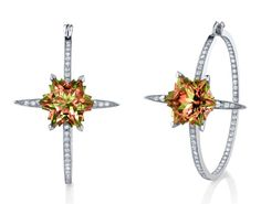 Couture hoop earrings in White Gold set with pave White Diamonds and snowflake cut Zultanite stones. Price from Stephen Webster, Glamour, Couture, Earring Set, Vibrant Colors, Fine Jewelry, Jewelry Box, Jewelery, White Gold