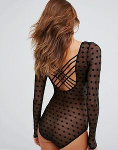 wolf and whistle spot mesh lattice back body suit