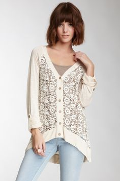 Love the long scoop back on this! Very flattering Blu Pepper Crocheted Lace Cardigan <3