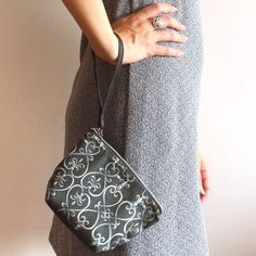MINI CLUTCH BAG , small black and white clutch bag with pattern.