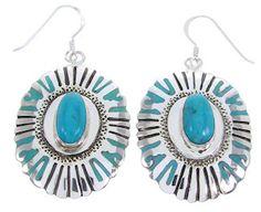 Silver Jewelry Turquoise Southwest Hook Dangle Earrings MW68748 http://www.silvertribe.com