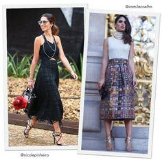 Fhits Looks: Camila Coelho e Nicole Pinheiro - Saia Mídi